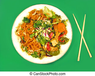 delicious Thai food - Thai cuisine and chopsticks