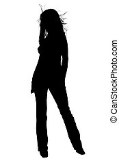 Silhouette over white with clipping path. Beautiful Young Woman With Hair Blowing.