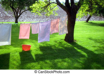 laundry day - Sunday morning in rural landscape