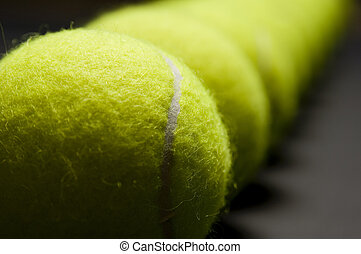 Tennis Balls Macro 4 - An extreme close-up photograph of a...