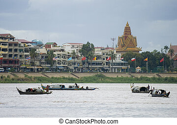 Boats on the Mekong - A flotilla of boats on the Mekong...