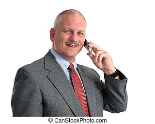 Happy Phone Call - a happy businessman talking on his cell...