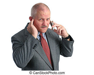 Quiet Down - a man trying to hear his cellphone in a loud...