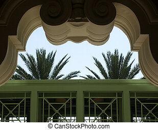 Framed Palms - Palms and arch at luxury hotel in Florida