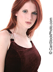 Woman Fashion - Beautiful Young Woman In Velvet Dress Shot...
