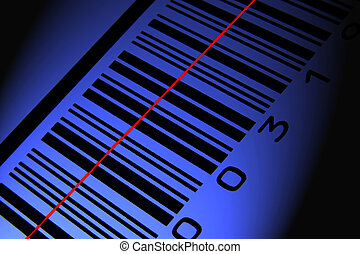 Blue barcode with scanline