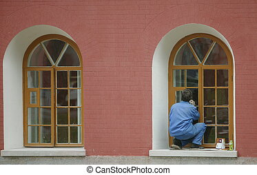 decorator, painter - worker color the window *** Local...