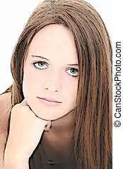 Illustration of Beautiful Fourteen Year Old Girl Portrait.