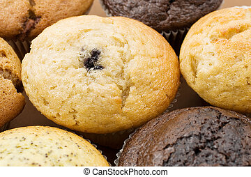 Food #5 - A Plate of muffins - Blueberry muffin in focus