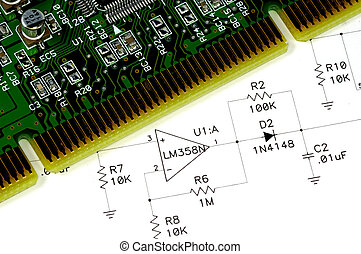 Circuit Board - Technical Drawing and a Circuit Board