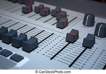 Lighting Console - Close up of manual theatre lighting...