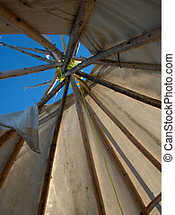Tipi - view of the smoke hole from inside a Tipi