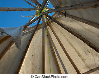 Tipi - interior view of an aboriginal Tipi