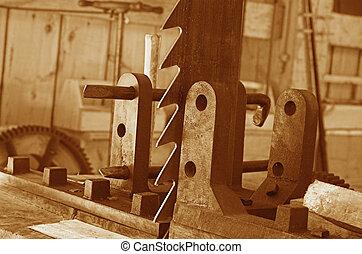 Sawmill - 1850 sawmill in sepia tones