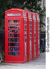 British red public phone boxes - Typical British old-style...