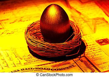 Golden Nest Egg - Gold Nest Egg Concept.
