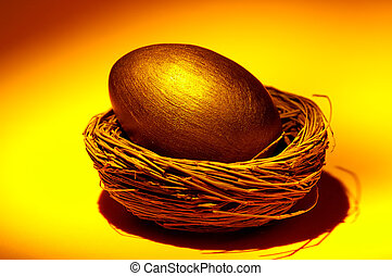 Golden Nest Egg - Gold Nest Egg Concept.
