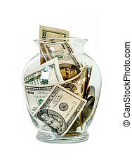 Money and Glass Jar - A glass jar full of twenty dollar US...