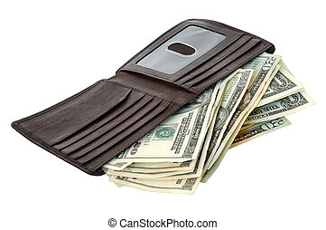 Money and Wallet - A wallet full of US banknotes