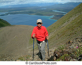 almost at the top - Hiking in Kluane NP, Yukon, Canada.