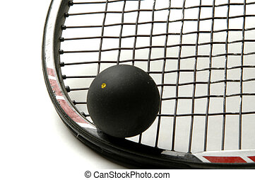 squash racquet and ball