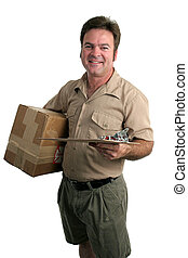 Making A Delivery - a delivery man with a package and a...