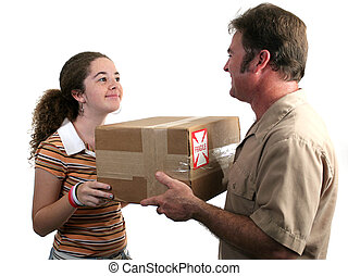 Receiving Delivery 2 - a girl receiving a package in the...