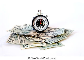 Time is Money - A running stopwatch on a stack of US twenty...