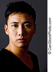 Male Model 2 - A portrait of an asian male model in black on...