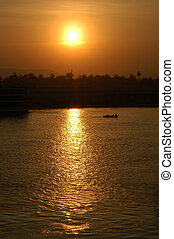 Nile sunset - sunset on the Nile river, Egypt, Africa