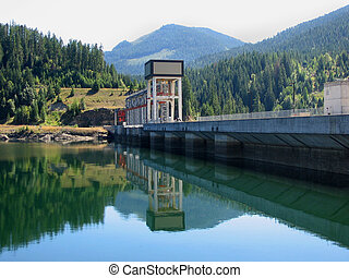 Seven Mile Dam - the Seven Mile Dam creating a reservoir on...
