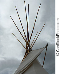 Tipi tee pee - Top of Tipi stormy weather