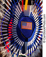 Native American regalia with American flag