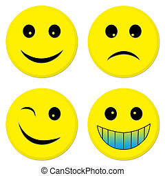 Four emoticon friends - Four emoticons from which 3 are...