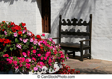 Spanish Courtyard - A Spanish-style outdoor courtyard in...
