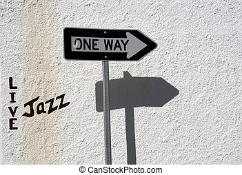 Live Jazz This Way - A sign indicates where one can park and...