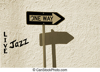 Live Jazz This Way - A sign indicates where you can find...