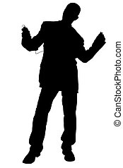 Silhouette Dancing - Silhouette over white with clipping...
