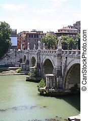 Rome Bridge - Main bridge over the Tiber River linking Rome...
