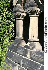 Ivy and Columns - Columns of an old brick building