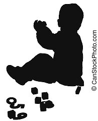 silouette boy playin - silhouetted boy playing