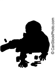 silouette boy playin - silhouette boy reaching for a toy