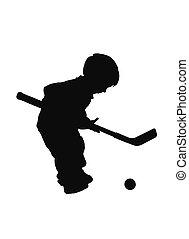 hockey - silhouette boy playin hockey