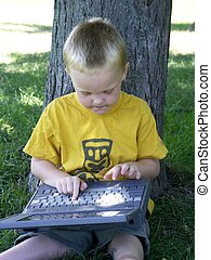 learning boy #2 - child with laptop learning