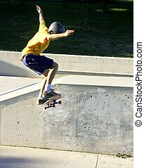 sk8 - skater boy doing a jump,some movement on the boy