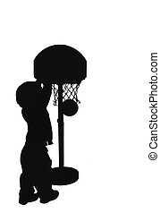 silouetted basketbal - silhouetted child playing basker ball