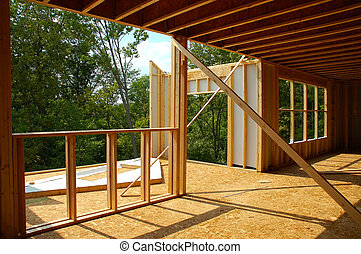 Framing Construction - Framing a new house in a rural area