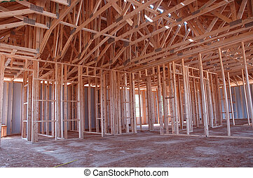 Framing Construction - Framework of a newly constructed...
