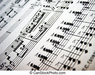 Music sheet artisticly grainy