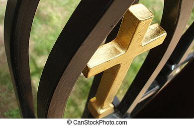 Golden cross - detail from church